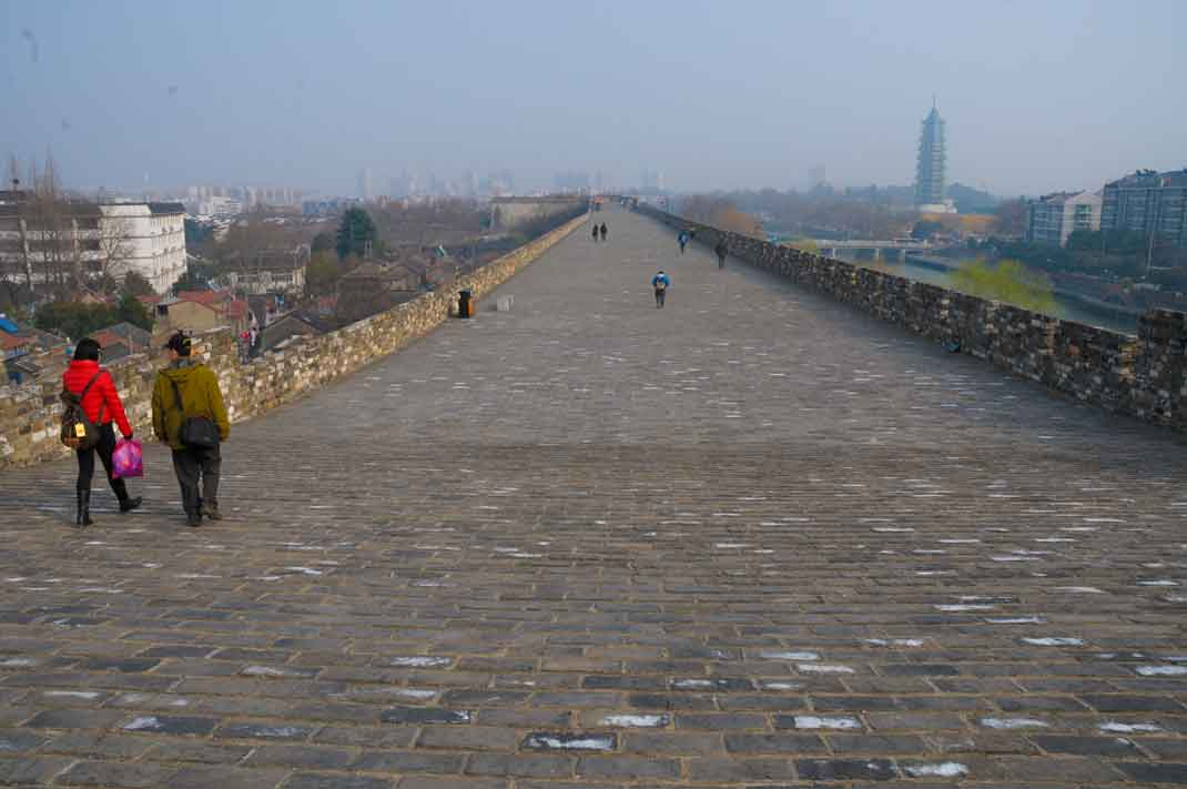 Wide southern section of Top of Nanjing City Wall